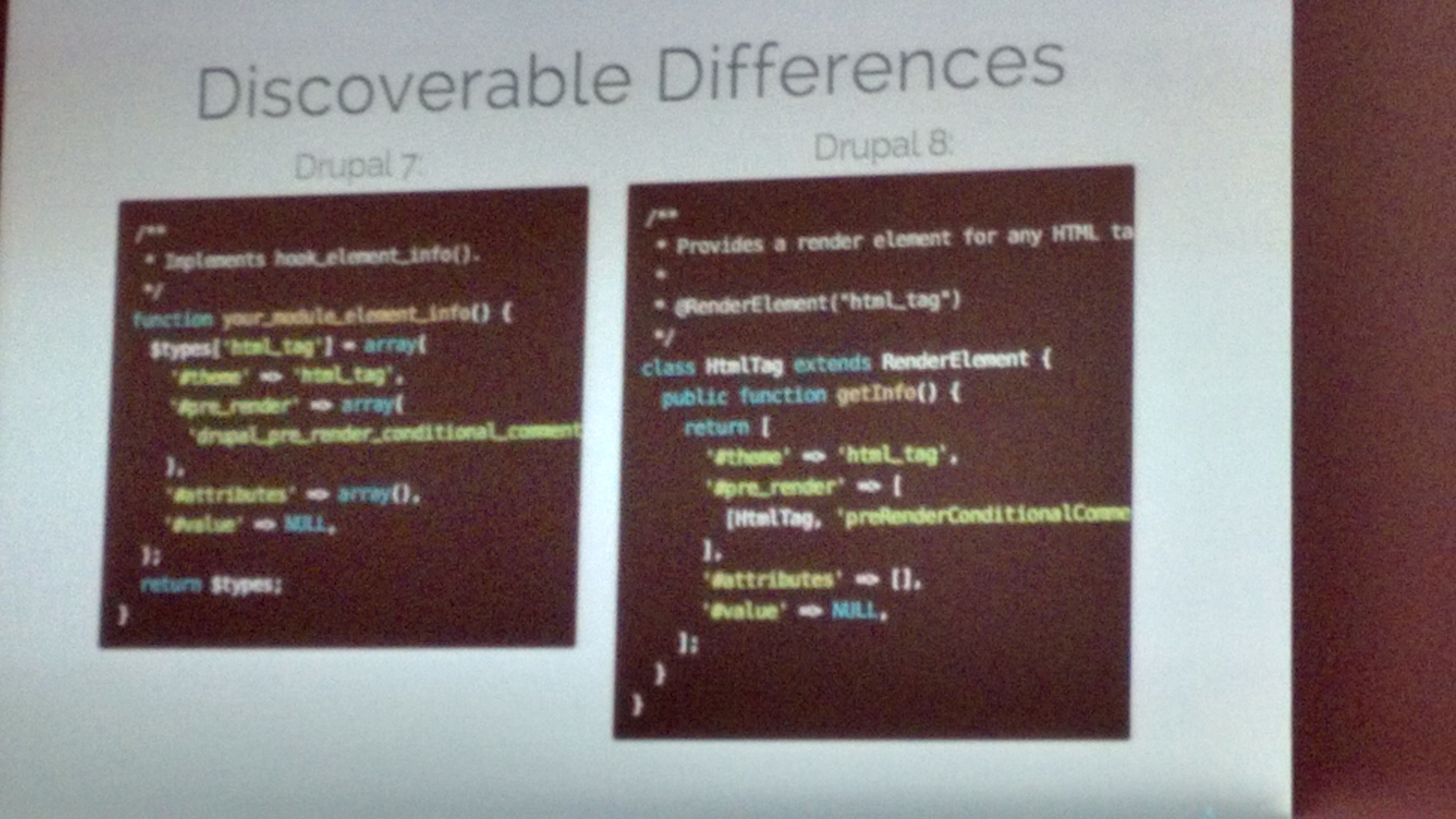 Some of the differences shown between Drupal 7 and Drupal 8 theming