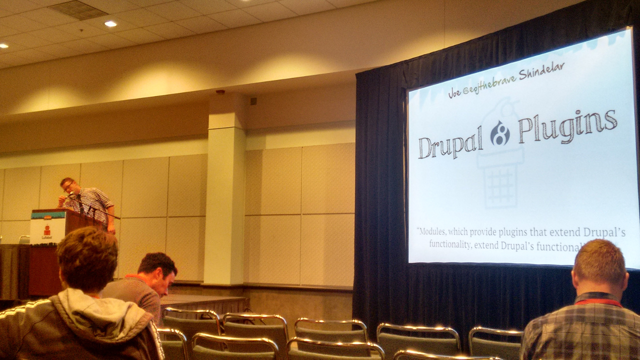 Joe Shindelar speaking about Drupal 8 plugins.