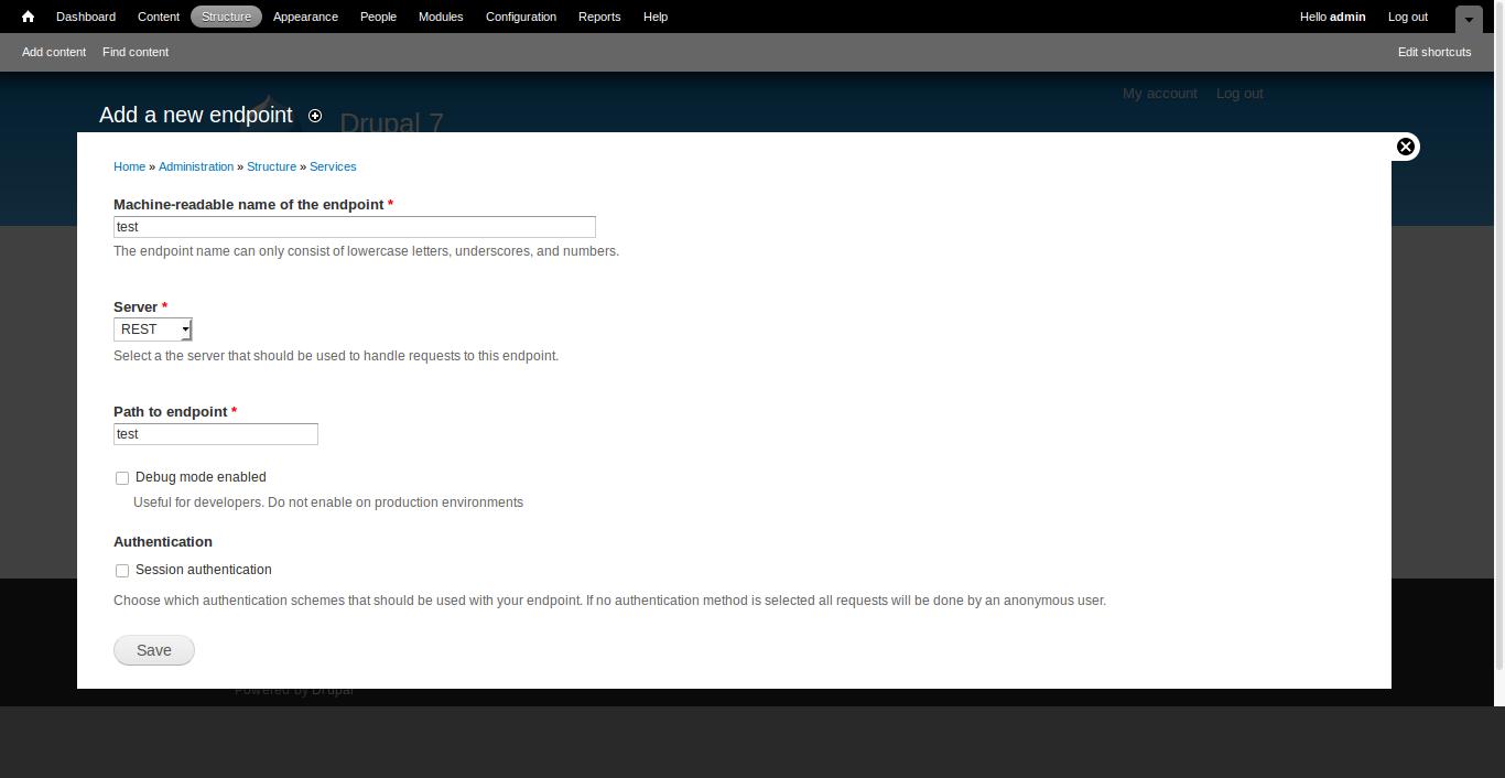 Services module configuration