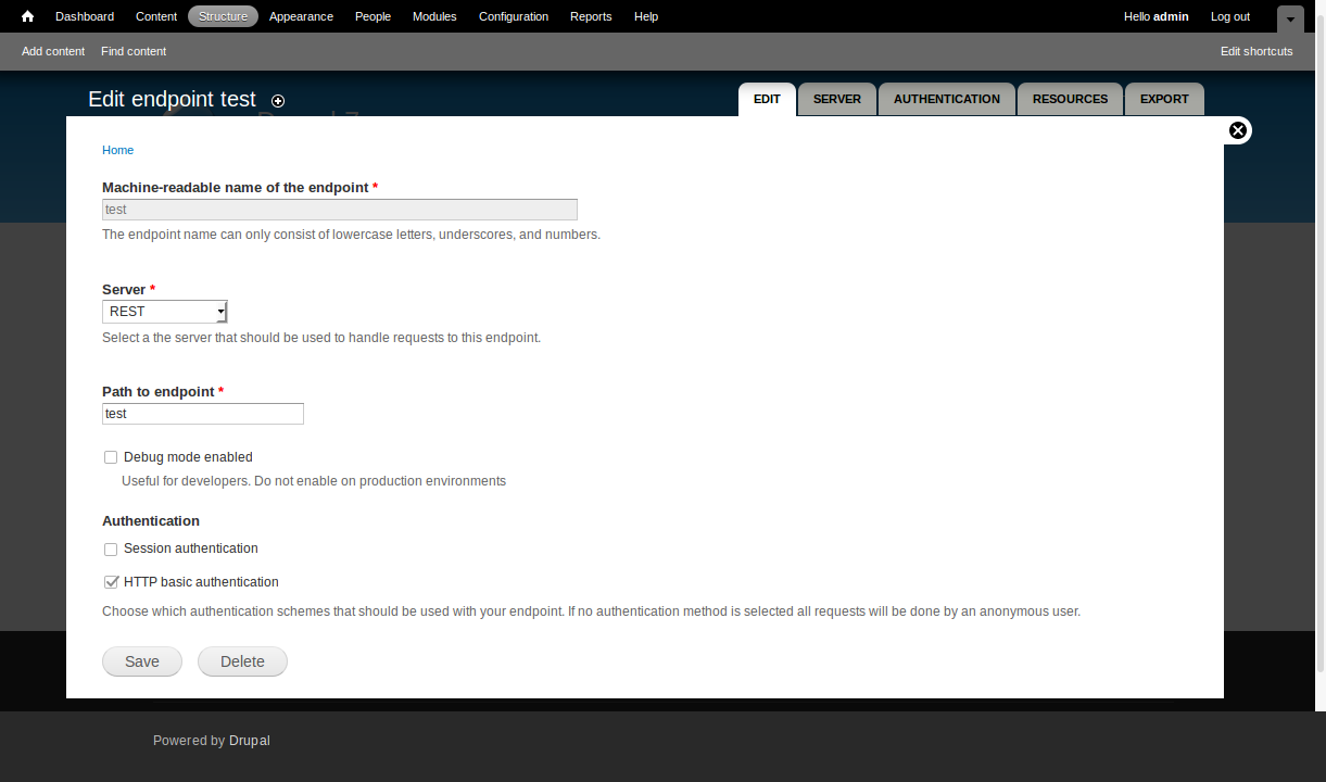 Enable auth on service